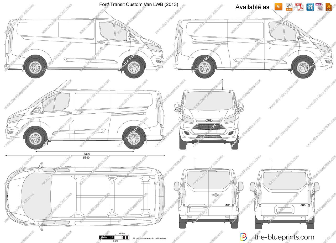 Ford Transit Custom Lwb L2h1 Vector Drawing In 2020