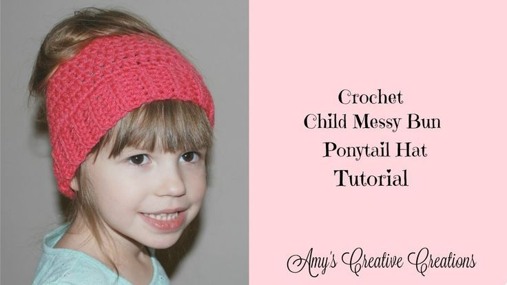Crochet Child Messy Bun Ponytail Hat #Bun #child #Crochet #Hat #Messy #messy_bun #Ponytail #kidsmessyhats