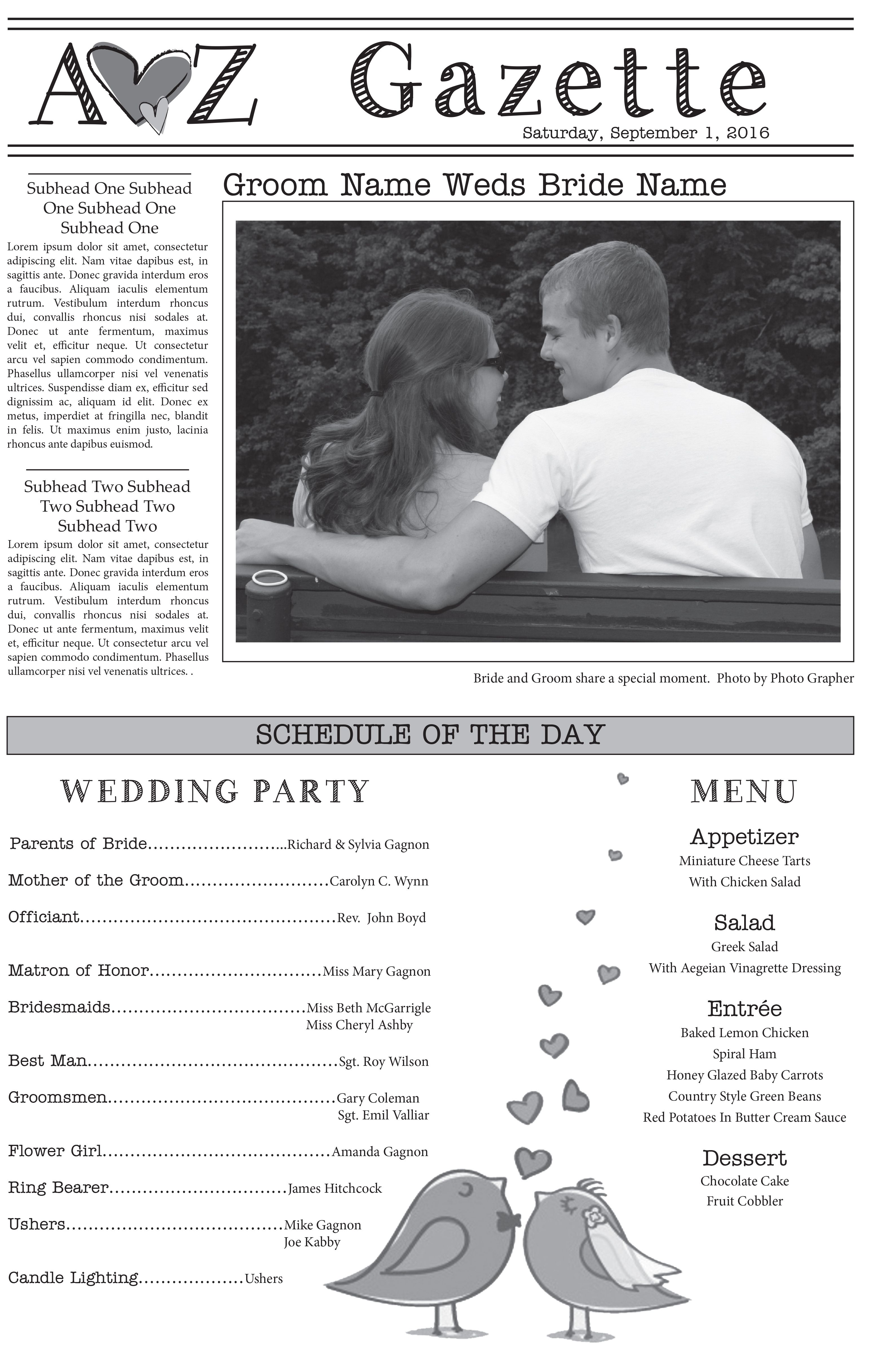 We Have Several Wedding Newspaper Templates To Choose From Let Us