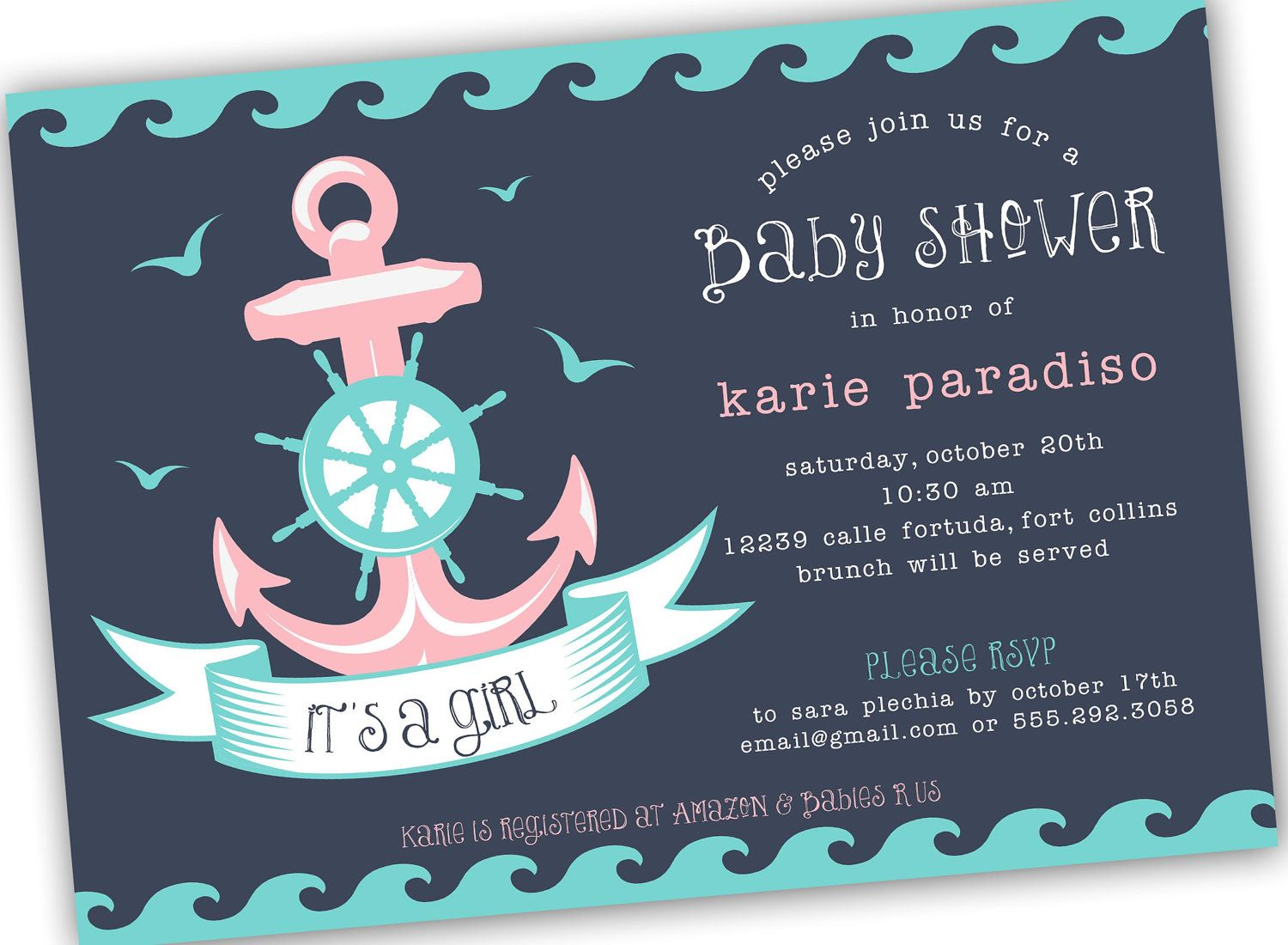 Nautical Themed Girl, Boy or Neutral Baby Shower Invite (4x6 or 5x7 ...