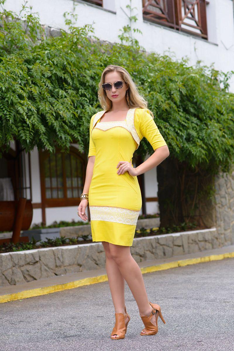 Yellow dress for women  Kauly Moda Evangélica  Hey ladies  Pinterest  Yellow dress