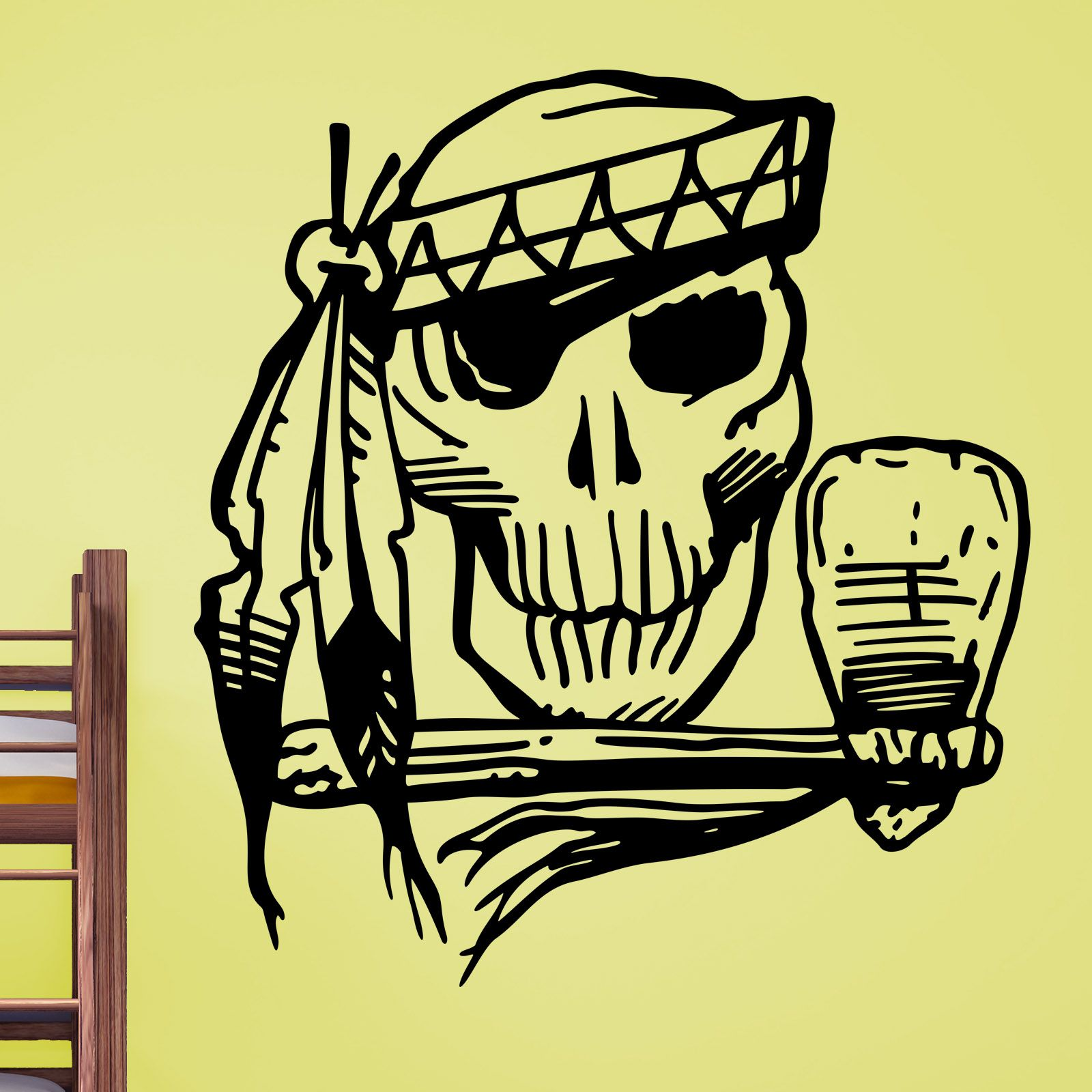 Awesome Native American Indian Skull and Hattchet Wall Sticker ...