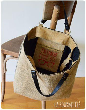 upcycling sac de caf grand cabas recyclage sac toile de jute c 39 est moi qui l 39 ai fait et. Black Bedroom Furniture Sets. Home Design Ideas