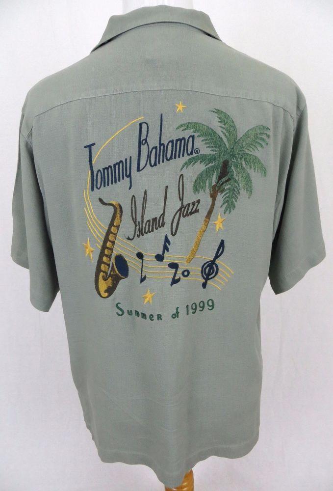 a9add048203c Tommy Bahama Hawaiian Shirt Medium Island Jazz Summer 1999 Embroidered  Saxophone #TommyBahama #Hawaiian
