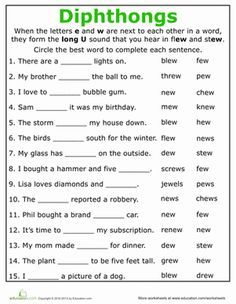 Practice Reading Vowel Diphthongs Ew Phonics Worksheets 2nd