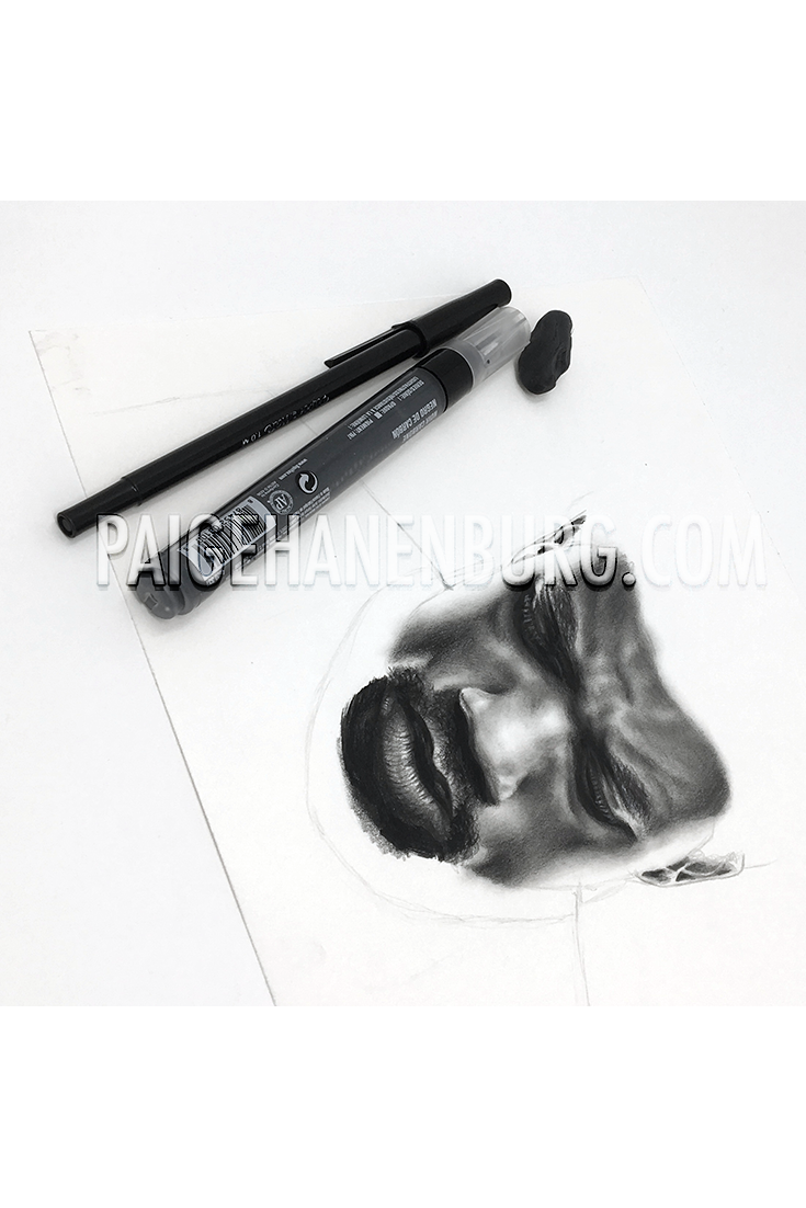 In Progress Pencil Portrait Drawing Of Marvel S Black Panther By Paige Hanenburg Marvel Blackpanth With Images Pencil Portrait Pencil Portrait Drawing Portrait Drawing