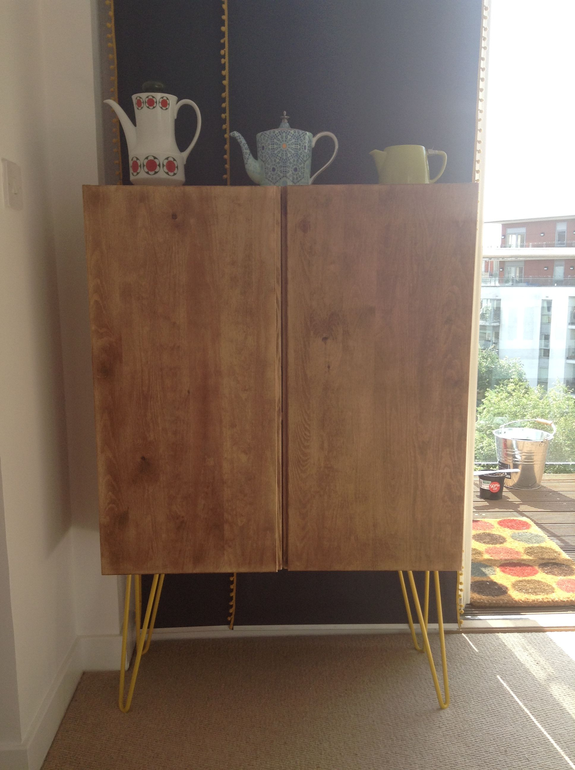 Ikea Ivar Cabinet Hack. Stained With Annie Sloan Dark Wax. Yellow Hairpin  Legs.
