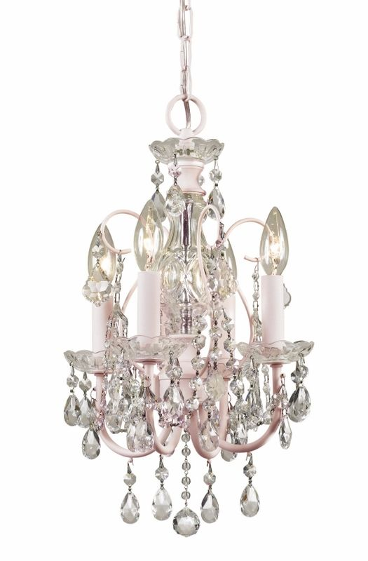 Imperial Mini Chandelier in Blush with Clear Crystals
