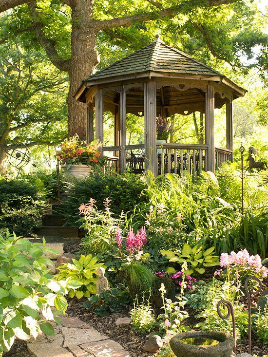 Shade Garden Ideas Wood structure Woodland garden and Gardens