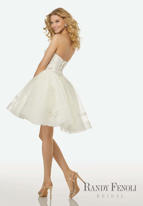 Randy Fenoli Bridal Bella Wedding Dress Style 3408 Beaded Lace Appliques On A Strap Short Wedding Dress Black Lace Wedding Dress Short Corset Wedding Dress [ 2630 x 1834 Pixel ]