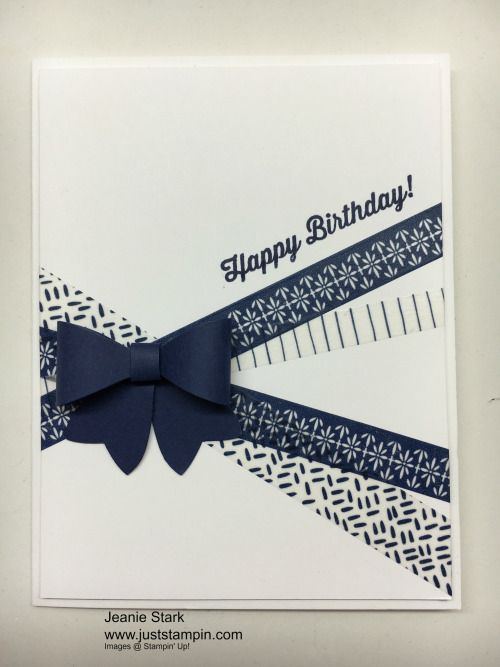 Stampin Up Birthday Card Using Washi Tape And Bow Puilder Punch