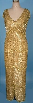 1960's HELEN ROSE Couture Gold Beaded Gown with Crystal Drops. Ruth Ann has the same questions here as with the other gold beaded dress on this board.