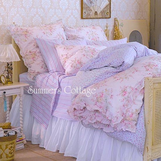 5 Pc Rachel Ashwell Shabby Chic Lavender Cabana Stripe Ruffles Roses Comforter Set Chic Bedding Shabby Chic Bedding Shabby Chic Room