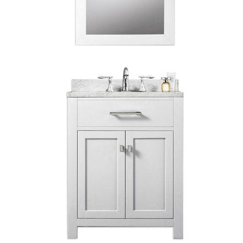 Madison Pure White 24 Inch Single Sink Bathroom Vanity Water Creation Vanities Bathroo 24 Inch Bathroom Vanity Single Sink Bathroom Vanity Bathroom Sink Vanity