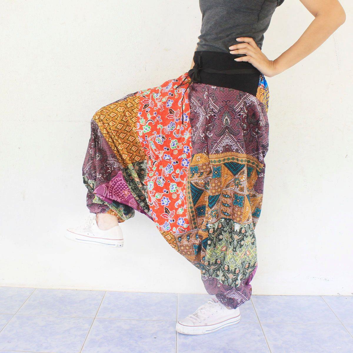 6149fd4b8 pathcwork Thai batik sarong harem pants handmade Thai batik sarong ...