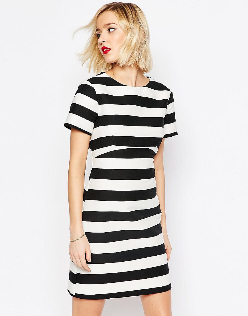 ASOS+Stripe+A-line+Dress+in+Structured+Fabric