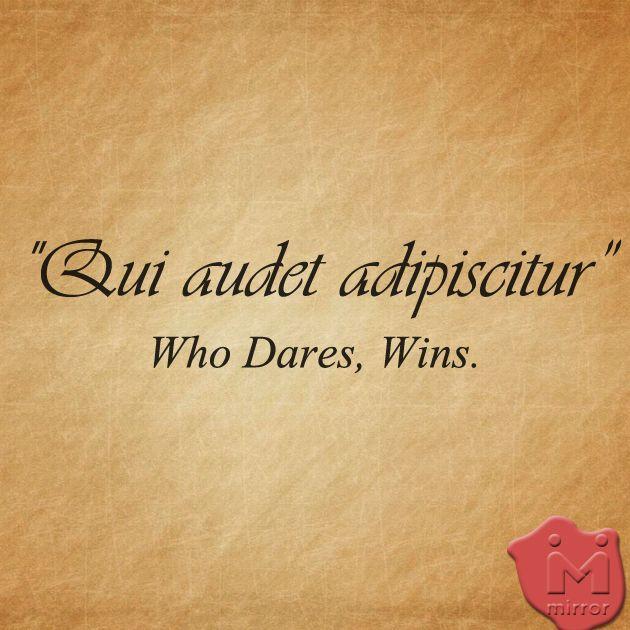 Qui Audet Adipiscitur (latin): Who Dares, Wins.