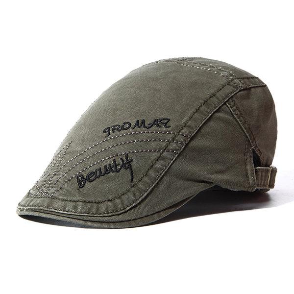 e58bae7069454 Men Autumn Stripes Sunshade Cotton Beret Cap Travel Letter Embroidered  Peaked Cap Adjustable Hat