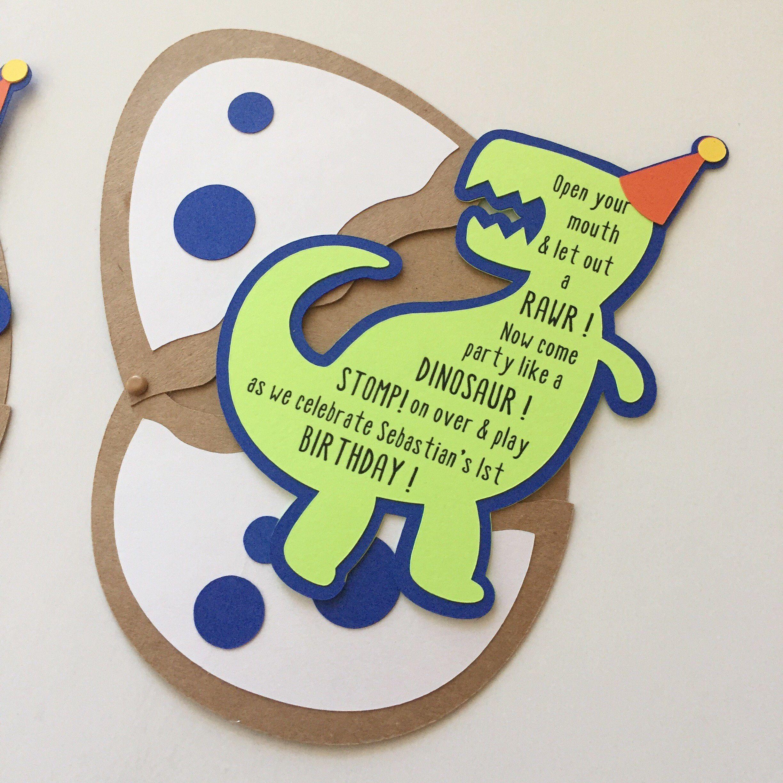 T Rex Party Hat Dinosaur Birthday Invitations Egg Invitation Theme
