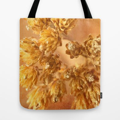 """Dried flowers image Tote Bag by gunadesign - $22.00, yellow, light brown colors, it is hand sewn in America using durable, yet lightweight, poly poplin fabric. All seams and stress points are double stitched for durability. They are washable, feature original artwork on both sides and a sturdy 1"""" wide cotton webbing strap for comfortably carrying over your shoulder."""