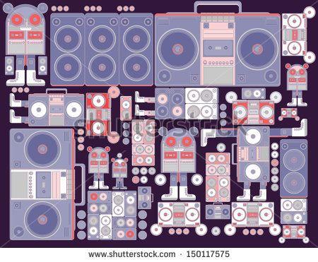 robot boom box tape music vector pattern wallpaper purple vintage colors - stock vector