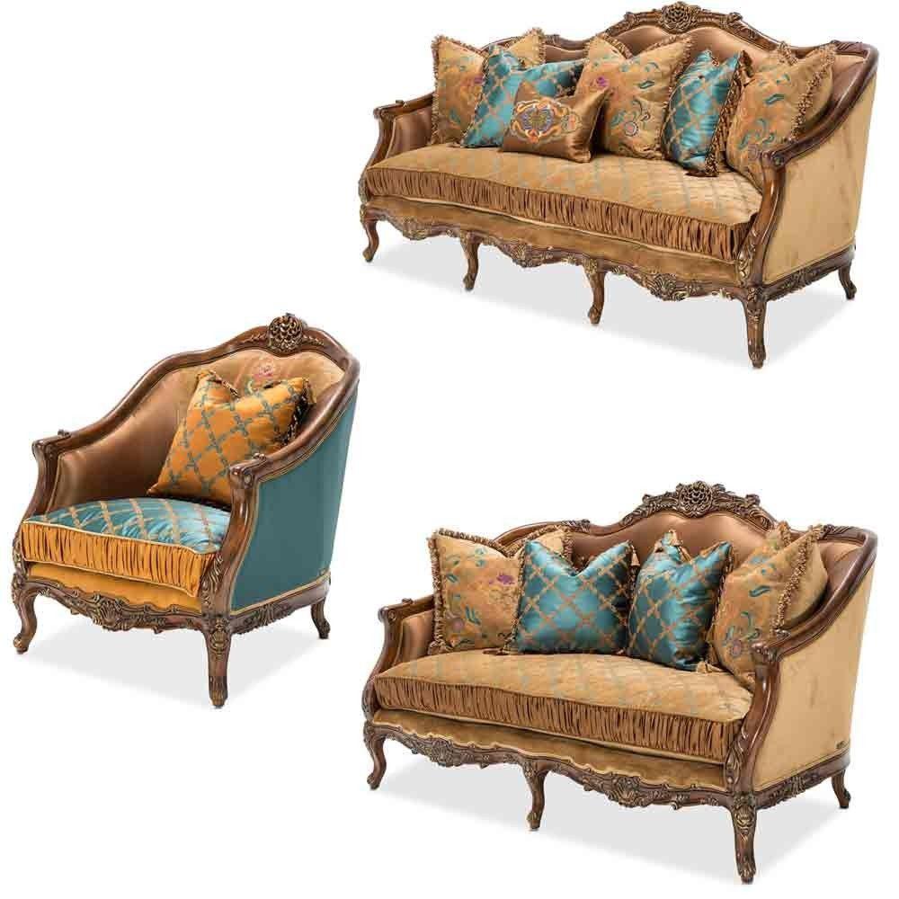 AICO Furniture - Sienna 3 Piece Living Room Set - FS-SIENA15-UMBER-3SET