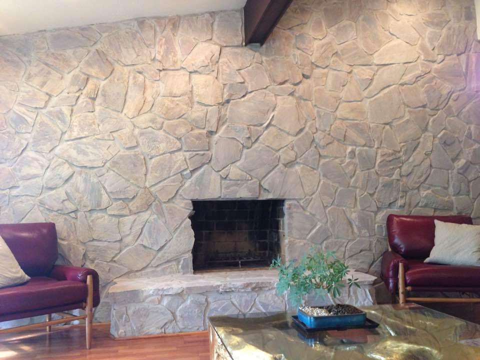 White Washed 60 S Stone Fireplace Wall I Used Rustolem Aged Grey