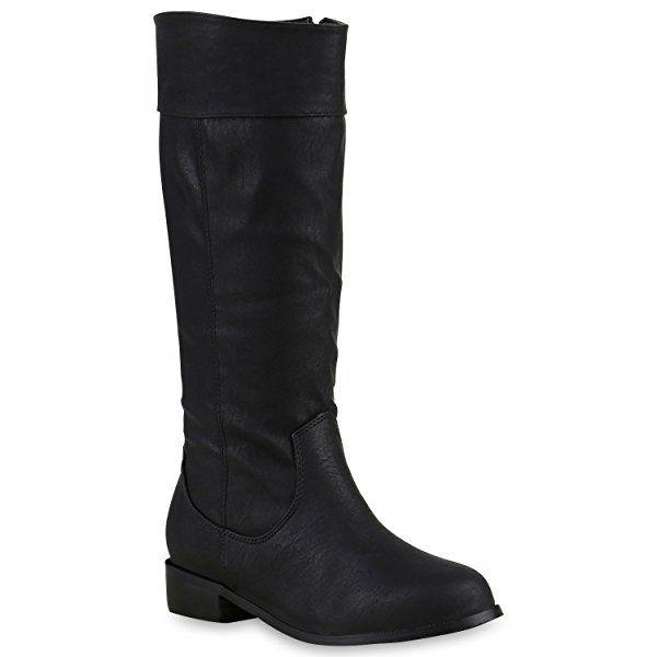 Schwarz Stiefel Damen Flache Boots Langschaft Schuhe 126471 D2IeHYWE9