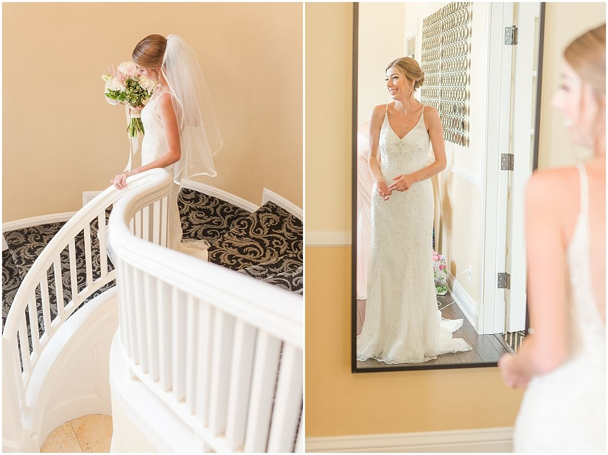 Bridal Portrait on stairs, Majestic Inn and Spa wedding, wedding dress, Maggie Sottero,  Skagit Valley wedding, Skagit wedding photographer, Seattle wedding photographers, Mistry & Scott, Mistry and Scott Photography