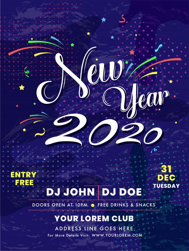 Tarjeta De Invitación De Celebración De Año Nuevo 2020 O