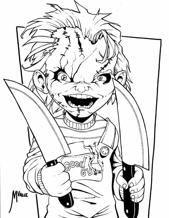 Realistic Coloring Of Chucky: Cartoon Coloring Pages, Chucky Drawing, Dog Drawing