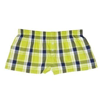 "Key Lime Green Plaid Multi Print Cotton Boxers Girls Mini Itty Bitty Shorts 1"" Inseam, Covered elastic waist, 100% cotton, Medium Touch of Europe Boxers. $15.99"