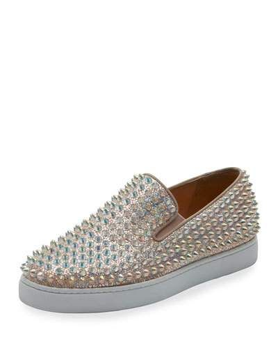 X3CET Christian Louboutin Roller Boat Spiked Skate Sneaker, Doubou/Clear