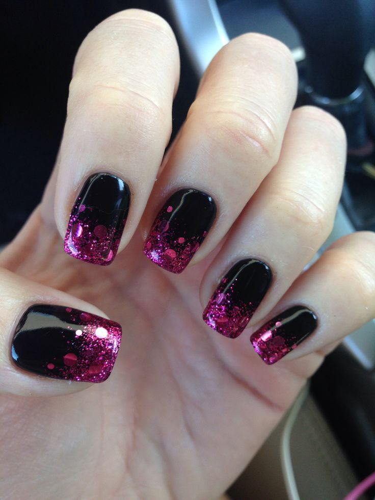 Image result for pink glitter nails nail ideas pinterest do you what to rock an all black nail but you also want to spice it up a bit try adding glitter prinsesfo Image collections