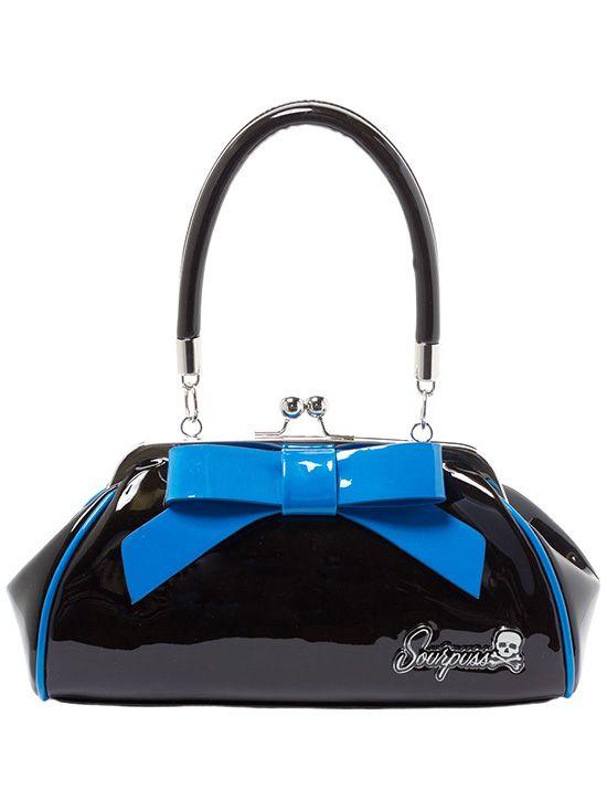 """Floozy"" Purse by Sourpuss Clothing (Black/Blue)"