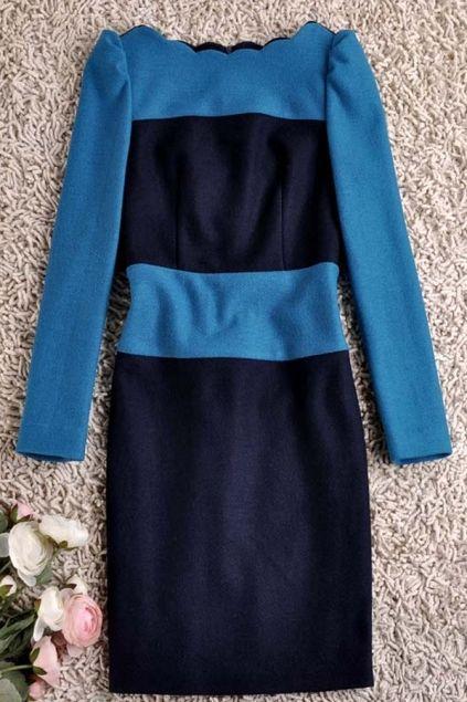Elegant Color Block Peter Horizontal Neckline Woolen Dress
