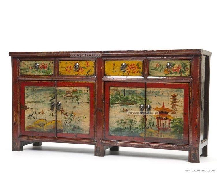 Aparador chino decorado a mano muebles furniture - Muebles decorados a mano ...