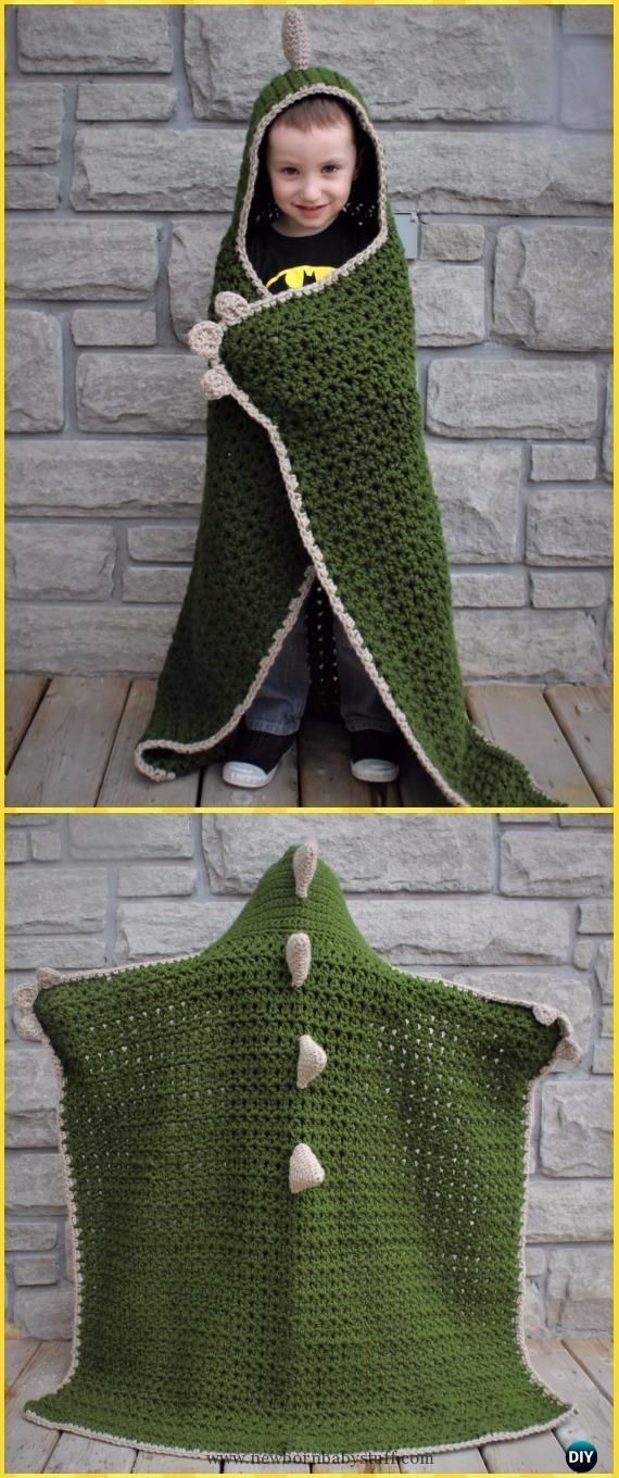 Baby Knitting Patterns Crochet Hooded Dinosaur Blanket Free Pattern