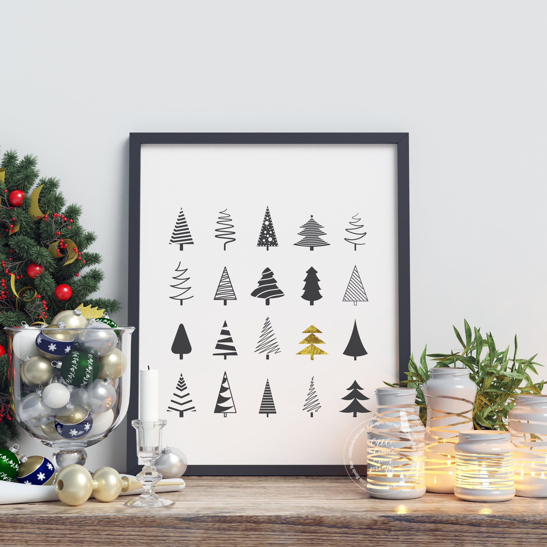 Black And Gold Christmas Tree Print Winter Home Decor Etsy Black Christmas Decorations Christmas Wall Art Gold Christmas Tree