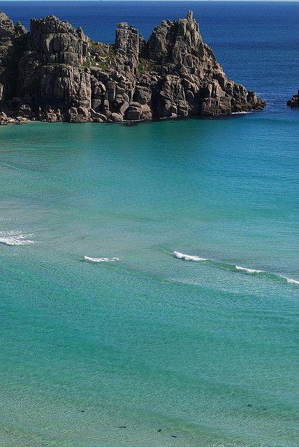 Treryn Dinas and Porthcurno Bay, Cornwall, England