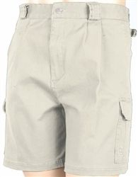 """• Constructed in comfortable cotton canvas   • 9 outer pockets including 2 bellows pockets with cellphone pockets   • Side size adjusting buckles   • Button waist and zippered fly   • Pleated front   • 9"""" inseam"""