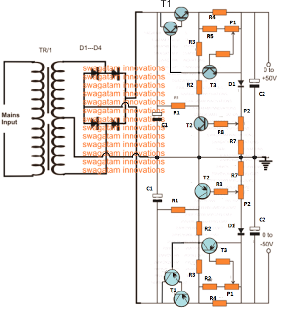 The Post Explains A Simple Yet Very Useful 0 To 50v Dual Power Supply Circuit Which Also Includes A Wide Ran Power Supply Circuit Circuit Projects Power Supply