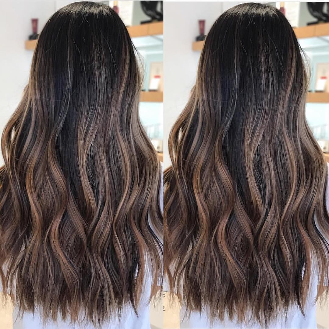 Dark Brown Black Hair With Honey Caramel Mocha Chocolate Rich Brown Balayage Highlights For Caucasian H Hispanic Hair Hair Highlights Dark Hair With Highlights