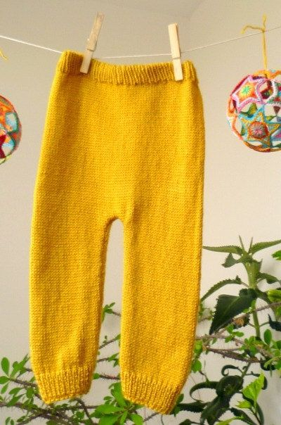 Knit Baby Pants in mustard color wool by KnitForYourBaby on Etsy, $31.00.Very comfortable for every day.