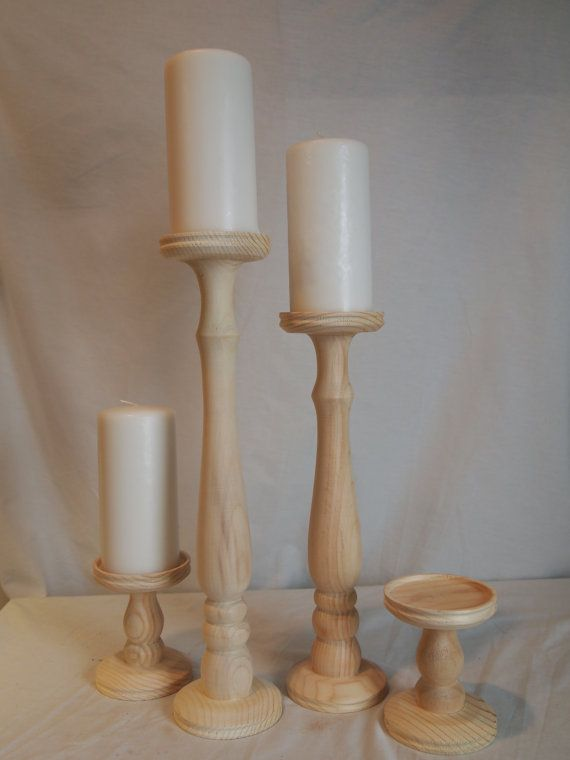 Unfinished Tall Pillar Candle Holder Set Of By Smokymtwoodnthings 85 00