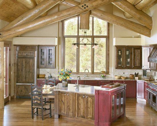 Best Mountain Home Design Interior; Kitchen Design: Rustic Kitchen Designs For Mountain Homes Wood Deiling Wood Floor