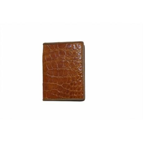 grossiste ac3b9 82756 Porte-carte peau crocodile homme marron intérieur cuir boeuf ...