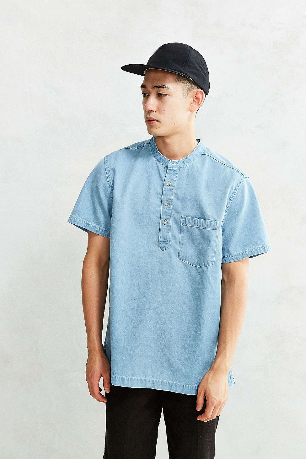 Flannel shirt and shorts men  CPO Denim Short Sleeve Popover Shirt  ue BLUE  Pinterest