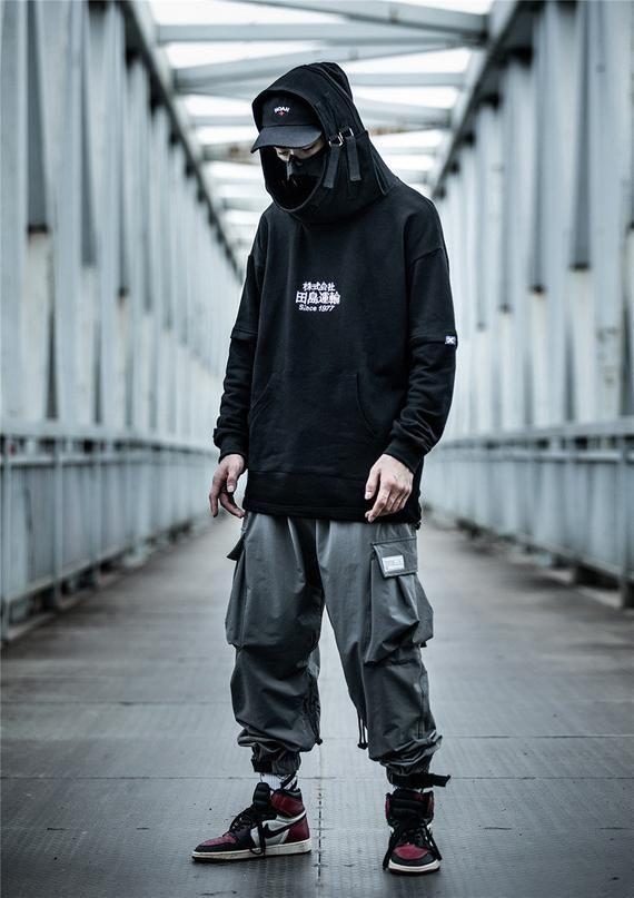 Japanese Harajuku Streetwear Black Pullover Urban Heavy Cotton Etsy In 2021 Japanese Street Fashion Men Streetwear Men Outfits Mens Fashion Streetwear