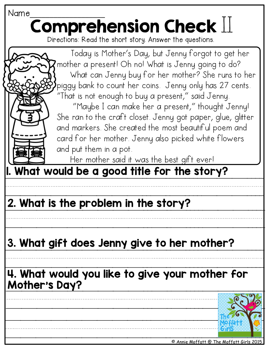 May NO PREP Math and Literacy (1st Grade)   Reading comprehension worksheets [ 1325 x 1024 Pixel ]